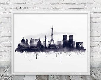 Paris Skyline Watercolor Print. Black & White Ink Print Paris France Cityscape Travel Art. Modern Wall Art Home Office Decor. Printable Art