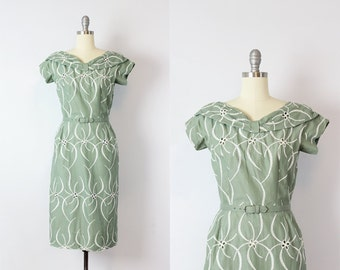 vintage 50s dress / 1950s embroidered eyelet cotton dress / sage green cotton dress / summer floral wiggle dress / Pistachio Swirl dress
