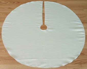 """Small White Satin Stripe 28"""" Tree Skirt, Free Shipping, Made in USA, All-Season, Spring, Summer, Holiday, Christmas"""