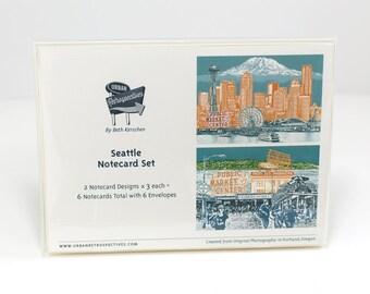 Seattle Notecard Set - full color - Seattle, Washington - 6 folded Greeting Cards