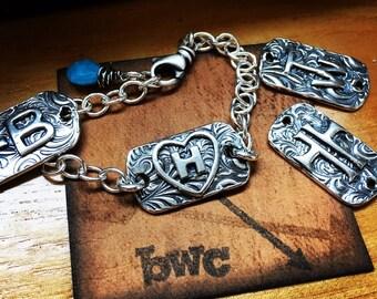 Brand Bracelet, dog tag, custom, ranch, cowgirl