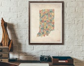 Indiana by County - Typography Print