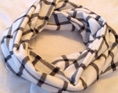 Black and White Flannel Infinity Scarf