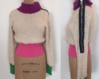 Amazing 80s Betsey Johnson punk label cotton loop knit zipper sweater