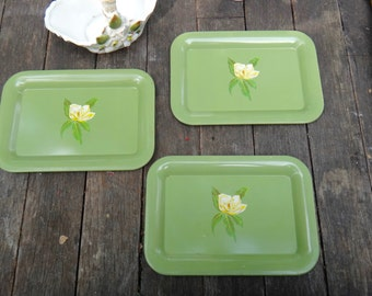 Tip Trays, Tole Paint, Tin Tray, Green Tray, THREE Floral Trays, Dresser Tray, Coin Tray, Hostess Gift, Office, Paperclip Tray, Toleware