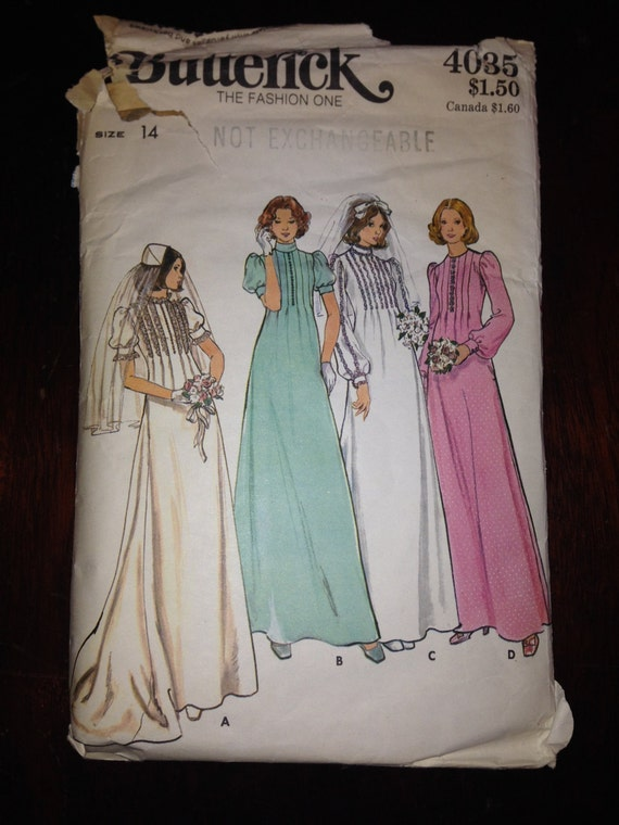 Vintage 70s Bridal Gowns Butterick Sewing Pattern 4035 Misses Size 14 Bust 36