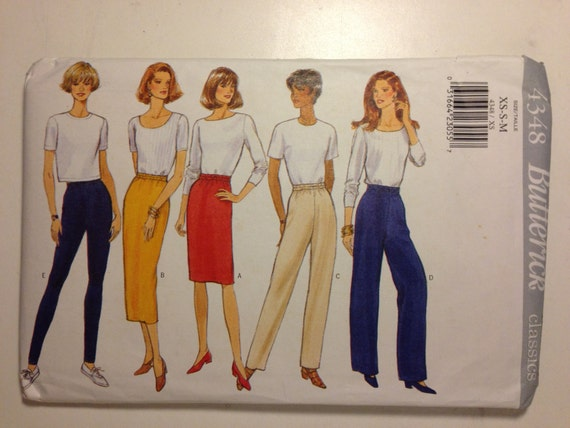 Butterick 4348 Sewing Pattern 90s UNCUT Fast and Easy Classics Misses Skirt, Pants and Leggings Size XS-S-M
