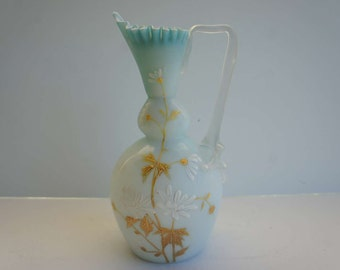 Elegant Bristol Glass Vase with Ruffled Edge and Floral Enameled Design