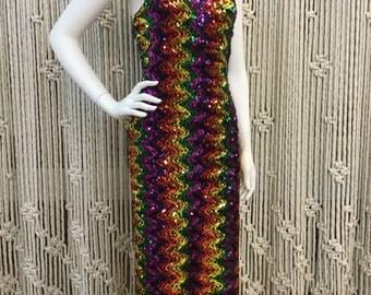 Stunning 1970's disco rainbow zig zag sequin halter knit maxi dress