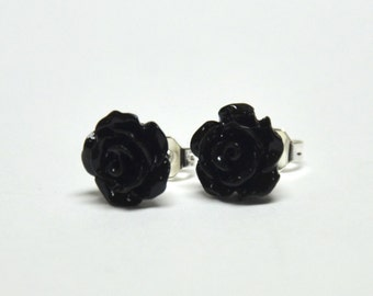 Tiny Black Rose Earrings - Flower Earrings - Silver Stud Earrings - Spring Inspired Jewelry