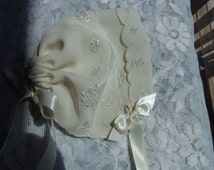 Handkerchief Baby Bonnet Heirloom Magic Hanky IVORY bonnet 100% SILK Full of Embroidered POSIES for baby showers Christening or just to wear