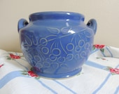 Vintage French Blue Bean Pot or Cookie Jar Raised Cherry Design Unmarked No Lid Cottage Chic Mid Century 1950s Design