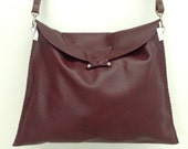 One off Handstitched large soft burgundy leather foldover crossbody bag with brown strap and silver hardware