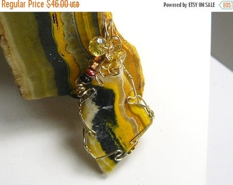 30% OFF Bumble Bee Jasper designer cabochon wire wrapped in 14kgf wire, (w012)