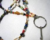 Bugle Seashell Seed Beads ID Identity Badge Holder Necklace Lanyard Chain