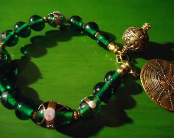 Boho Gypsy Inspired Emerald Green and Gold Pendant Bracelet