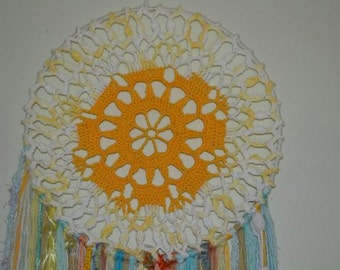Dreamcatcher -  Wall Hanging - Home decor -  Gypsy - Boho -MORNING SUN - using novelty yarns hanging down, beads and crystal.