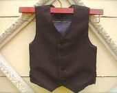 Boys Dark Brown Vest, Infant to Teen, Wedding Ring Bearer, Toddler Vest, Boys Vest, Toddler Boys Brown Vest