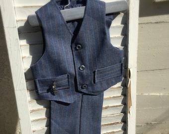 Vintage blue grey vest and pants (2t vest and pants)