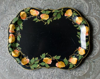 Vintage Signed Tole Toleware Tray w/ Hand Painted Golden Florals - Hallie 1954