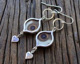 Butterfly wing earrings - silver butterfly wing earrings - real butterfly wings jewelry - evil eye - marquise shape