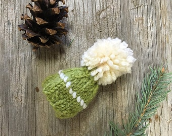 Green Miniature Knit Hat- Olive, Chartreuse, Lime- Hand Knit- Mini Cap- Christmas Decor, Ornament- Gift Topper, Doll Hat, Pet, Bear
