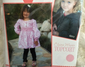 Claire Marie Topcoat Pattern by Izzy and Ivy Sewing Pattern UC FF Uncut Size 2 3 4 5 6 7 8 10 Girls
