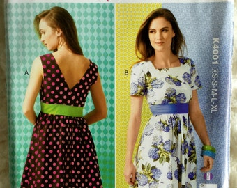 Kwik Sew Womens Empire Waist Dress Sewing Pattern K4001 Size xs s m l  xl UC FF Uncut