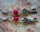 Silver Key and Red Pearl Drop Earrings