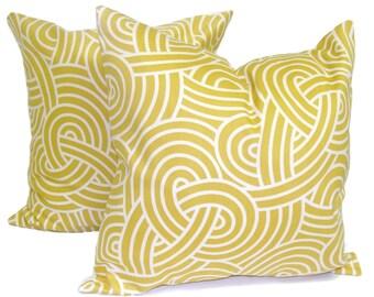 GOLD Pillows.Set of TWO 18x18 inch.Decorative Pillow Covers.Home Decor.Gold Decor.Housewares.Gold Pillow Cover.Swirl.HGTV. Pillow.Mustard