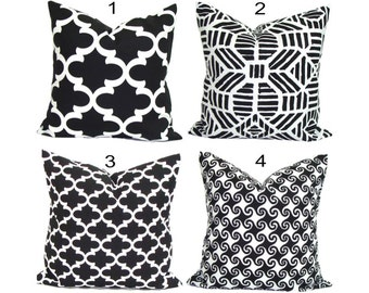 Black Pillows, INDOOR OUTDOOR Pillow Covers, Black Decorative Pillow, Black Throw Pillow, Outdoor Pillow, Pillow Covers, Black Cushion Cover