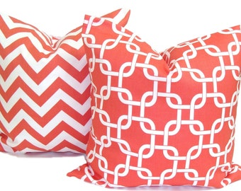 CORAL PILLOW SET. Decorative Pillow Cover.Coral Pillows.Coral Throw Pillow, Coral Accent Pillow. Coral Cushion Cover. 16, 18 or 20 inch.