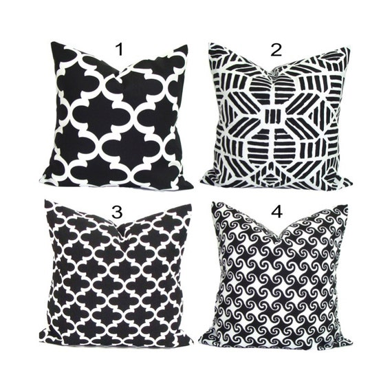 Black Pillows INDOOR OUTDOOR Pillow Covers Black Decorative