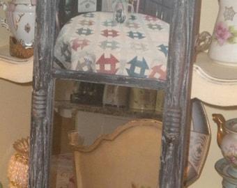 SUMMER SALE Primitive Country Distressed/Chippy Vintage Mirror,Farmhouse Mirror, Log cabin mirror, Black mirror