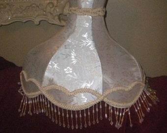 SUMMER SALE Extra Large Creamy White Elegant Lampshade, Hollywood Regency, Beaded Lampshade