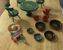 ON SALE!  Vintage Spanish influence patio or kitchen furniture set for your dollhouse.   Mexican or south western theme.