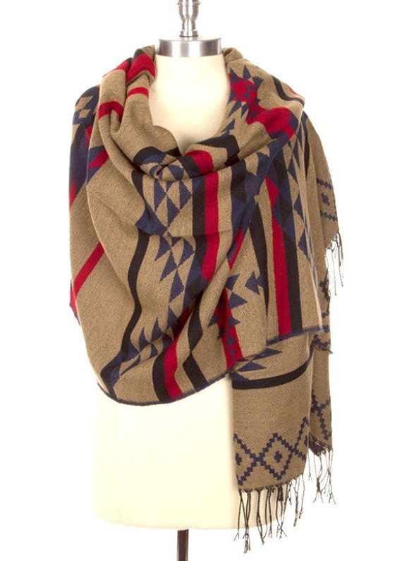 Chunky Winter Womens Scarves Tribal Print Aztec Infinity