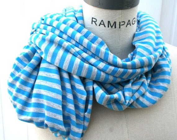 Women blue Scarf scarfs, teachers gifts for womens, lightweight scarf, stripe fabric, Soft Infinity Scarf, Gift for Mom - by PIYOYO