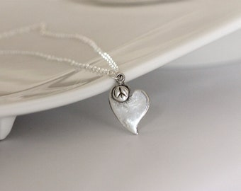 silver heart with peace sign necklace | fine silver heart pendant | boho necklace | handmade jewelry | artisan jewelry | girlthree jewelry