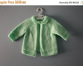 ON SALE Vintage handknit baby sweater / Spring green cardigan sweater / Mint green knit baby jumper / newborn baby 0 to 6 months