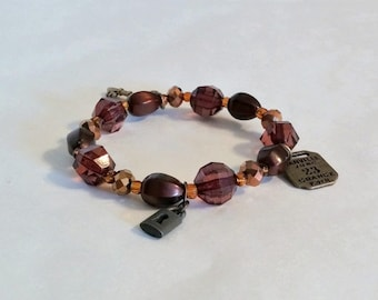 Bracelet Beaded Brown Stretch With Charms