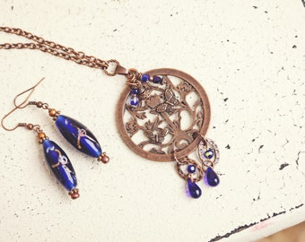 Antique Copper Pendant Necklace, Butterfly Pendant, Glass Beads, Hand Painted Glass Bead Necklace