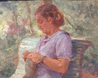 A woman who sews. French painting.