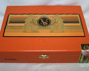 Empty Cigar Box Solid Wood Victor Sinclair Primeros Tabacos Toro Orange and Yellow