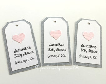 Pink and Grey Baby Shower Personalized Tags, Pink Heart, Baby or Bridal Showers, Birthday Party Gift Tags, Baptisms, Wedding Tags. 6CT