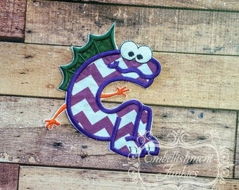 Monster letter G applique, initial embroidered patch, iron on applique letter for kids, iron on letter embellishment, iron on monogram patch