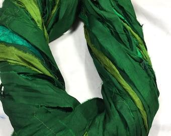 NEW Recycled Sari Silk Ribbon Greens 1293 Jewelry Wrap Bracelet Fair Trade Silk Fiber Art Felt Knit Crochet Supply