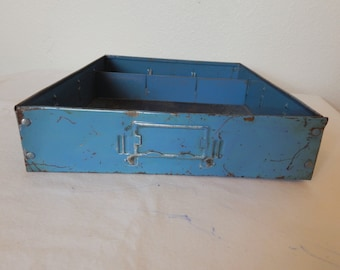 Utility Cabinet Drawer Blue Metal Vintage Union Chests Model 410 Divided Storage Display 1940s 1950s