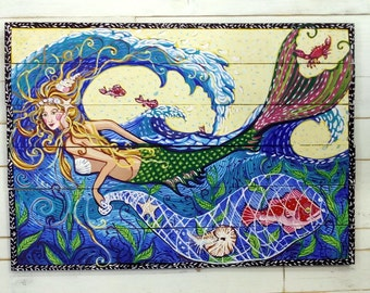"Mermaid fishing in the waves by Kim Mccoy  large original painting  34""x 4ft,  beach art,mermaid,coastal living"