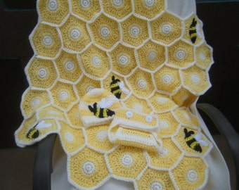 Crocheted Sweet as a Honey Bee Baby Blanket with Hat and Diaper Cover